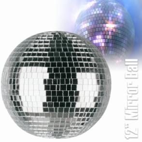 "Lightweight Silver Mirror Dance Disco Party DJ Ball 300mm 12"" Mirrorball"