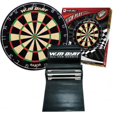 "Official Match Size Bristle Dartboard 18"" and Heavy Duty Anti-Slip Dart Mat"