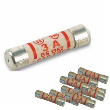 Pack of 10 3amp Fuses For Mains Plug Top 3A Cartridge