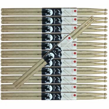 Pack of 12 Pair Johnny Brook Wooden Drum Sticks Oak 2B 5A 5B 7A SRH