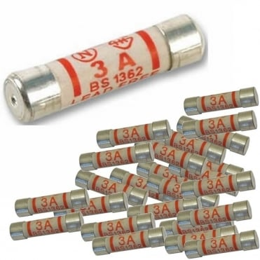 Pack of 25 3amp Fuses For Mains Plug Top 3A Cartridge