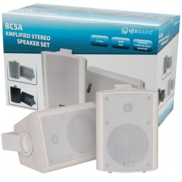 Pair of Amplifield Stereo Speakers - 2 x 30W Active Powered in White