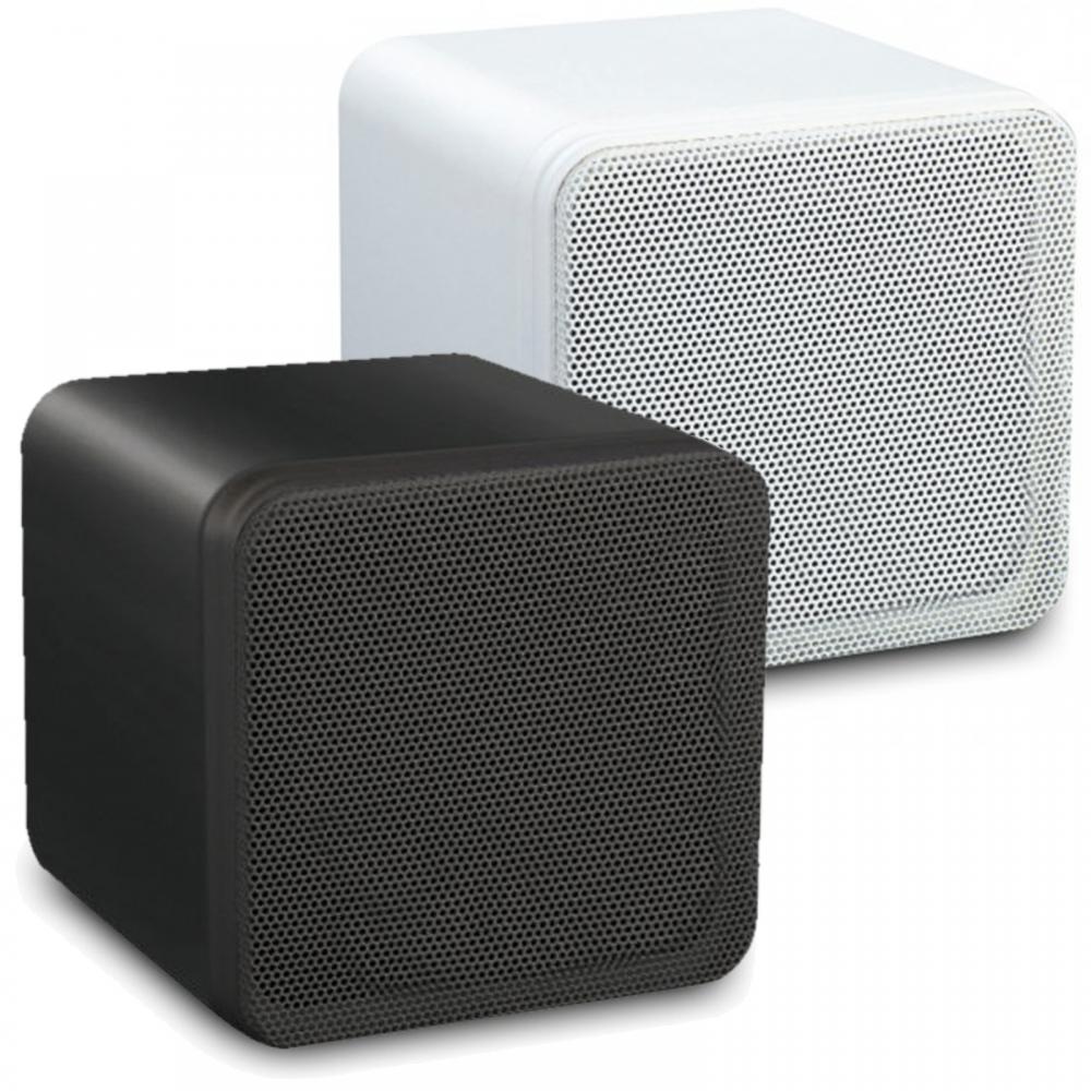 2 Black White 4 Abs Bookshelf Cube Speakers 80w 8ohm