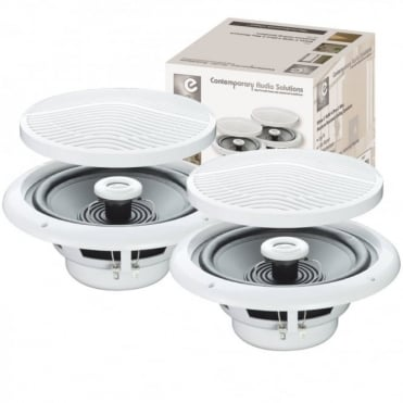 Pair Of E-audio 80w Round Ceiling Speakers 2 Way Moisture Resistant 8 Ohms