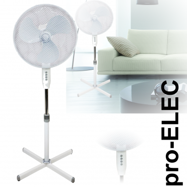 Pedestal Floor Standing Fan Silver Oscillating Electric 3 Speed Adj Height & Head