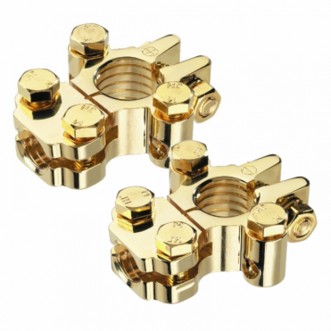 Positive and Negative 12V Battery Gold Plated Terminal Clamps 3 Cable Connection