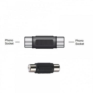 RCA Phono Female Socket to RCA Phono Female Socket Coupler Adapter