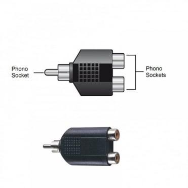 RCA Phono Male Plug to Twin RCA Phono Female Socket Adaptor