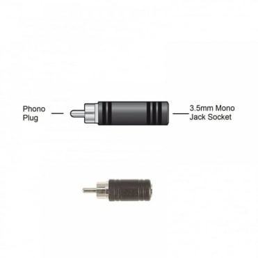 RCA Phono Plug Male to 3.5mm Mono Jack Socket Female Adapter