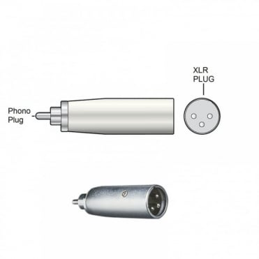 RCA Phono Plug Male to 3 Pin XLR Plug Male Adapter