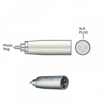 RCA Phono Plug Male to 3 Pin XLR Plug Male Adapter