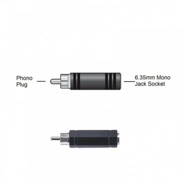 "RCA Phono Plug Male to 6.35mm 1/4"" Mono Jack Socket Female Adapter"