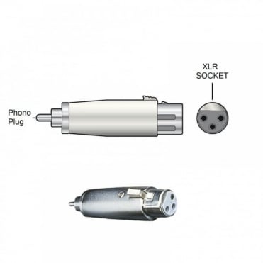 RCA Phono Plug Male to XLR Socket Female Adapter