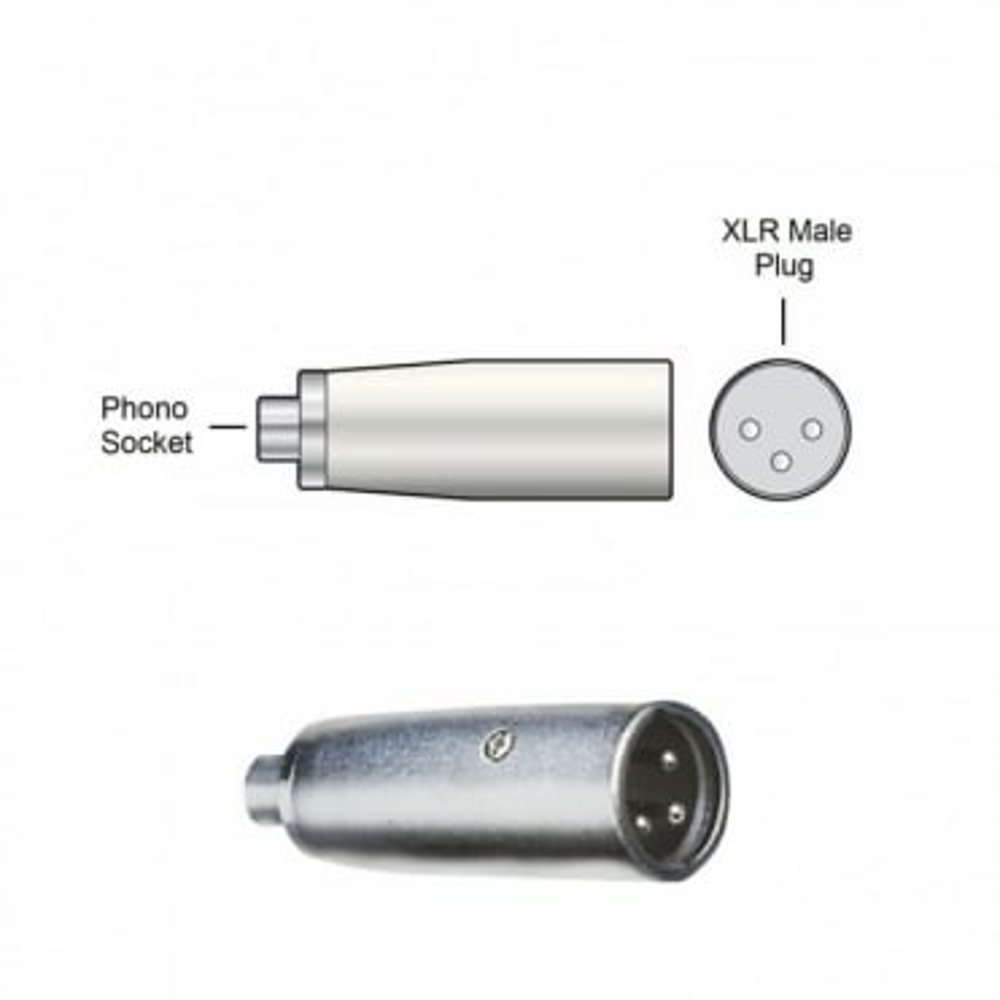 RCA Phono Socket Female to 3 Pin XLR Plug Male Adaptor