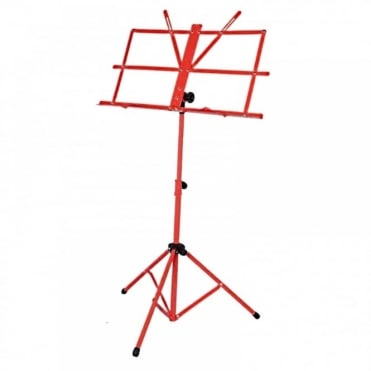 Red Metal Adjustable Sheet Music Stand Holder Folding Foldable