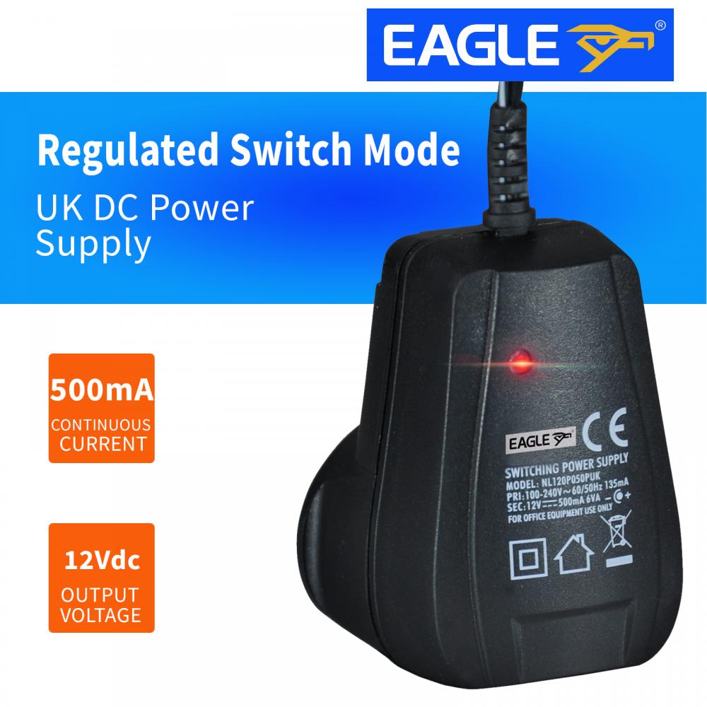 Regulated Switch Mode 12 V Dc 500ma Power Supply Uk Plug