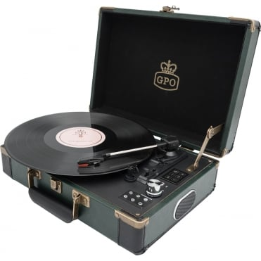 Retro Style Briefcase Turntable in Green & Black 33/45/78 RPM USB Portable Record Player