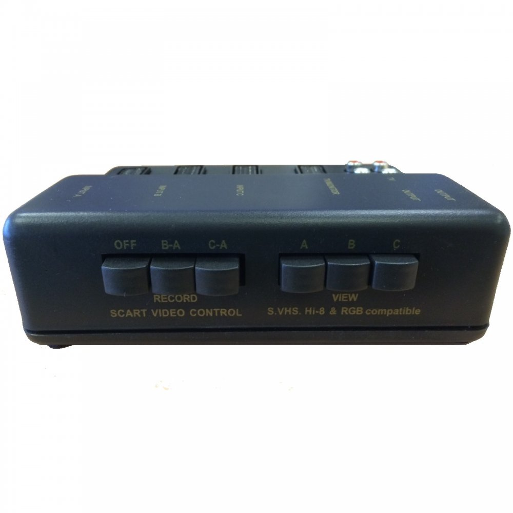Scart Switch Box 3 Scart In - 1 Scart Out Plus 6 RCA Phono Sockets