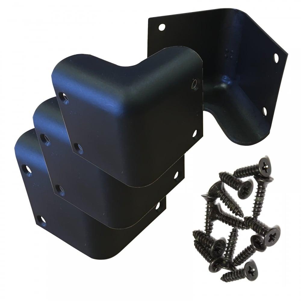 set of 4 guitar amp speaker cabinet plastic corners black 52mm. Black Bedroom Furniture Sets. Home Design Ideas