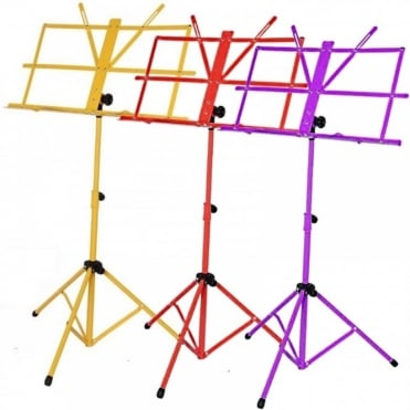 Set of Three Metal Adjustable Sheet Music Stand Holder Folding Purple Red Yellow