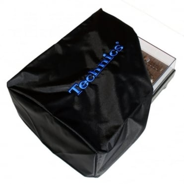 Turntable Dust Cover Technics Deck Logo Black & Embroidered Electric Blue