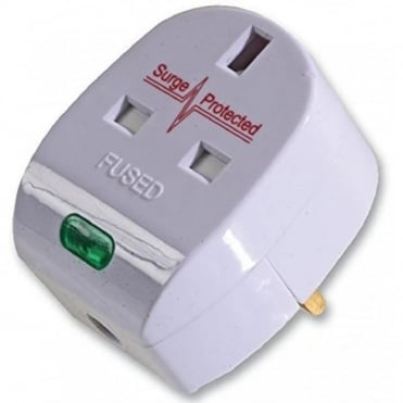 UK Mains Socket Single Gang Anti-Surge Adaptor 13A
