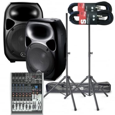 "Titan 12"" Active Speakers 1000W & X1204USB Live Mixer, Stands & Leads"