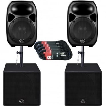 Titan 12D & SUB15A 2K Watt Active PA DJ Speaker Sound System Package
