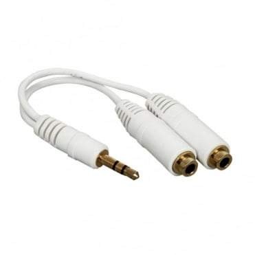 White Headphone Splitter Gold 3.5mm Stereo to Twin Sockets