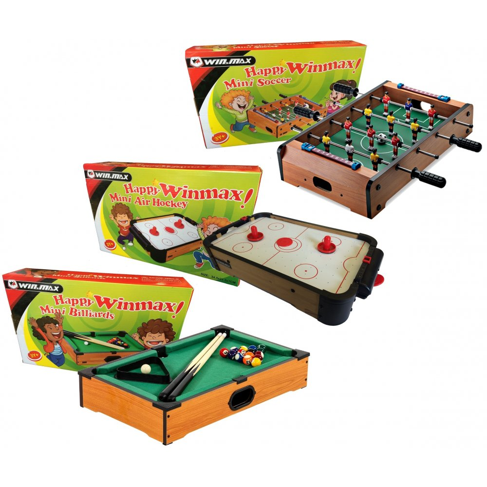 Mini Air Hocky Football & Pool Table Activity Game Set Pack